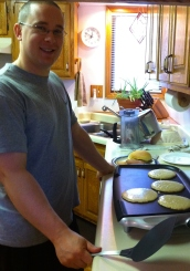 "Chad whippin' up some pancakes from ""scratch"""